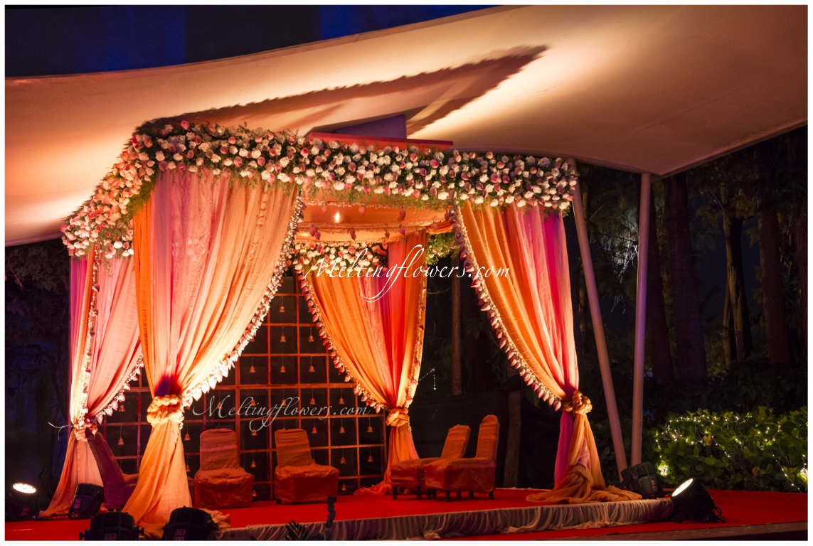 Indoor garden theme wedding decorations wedding for Artificial flower decoration mandap