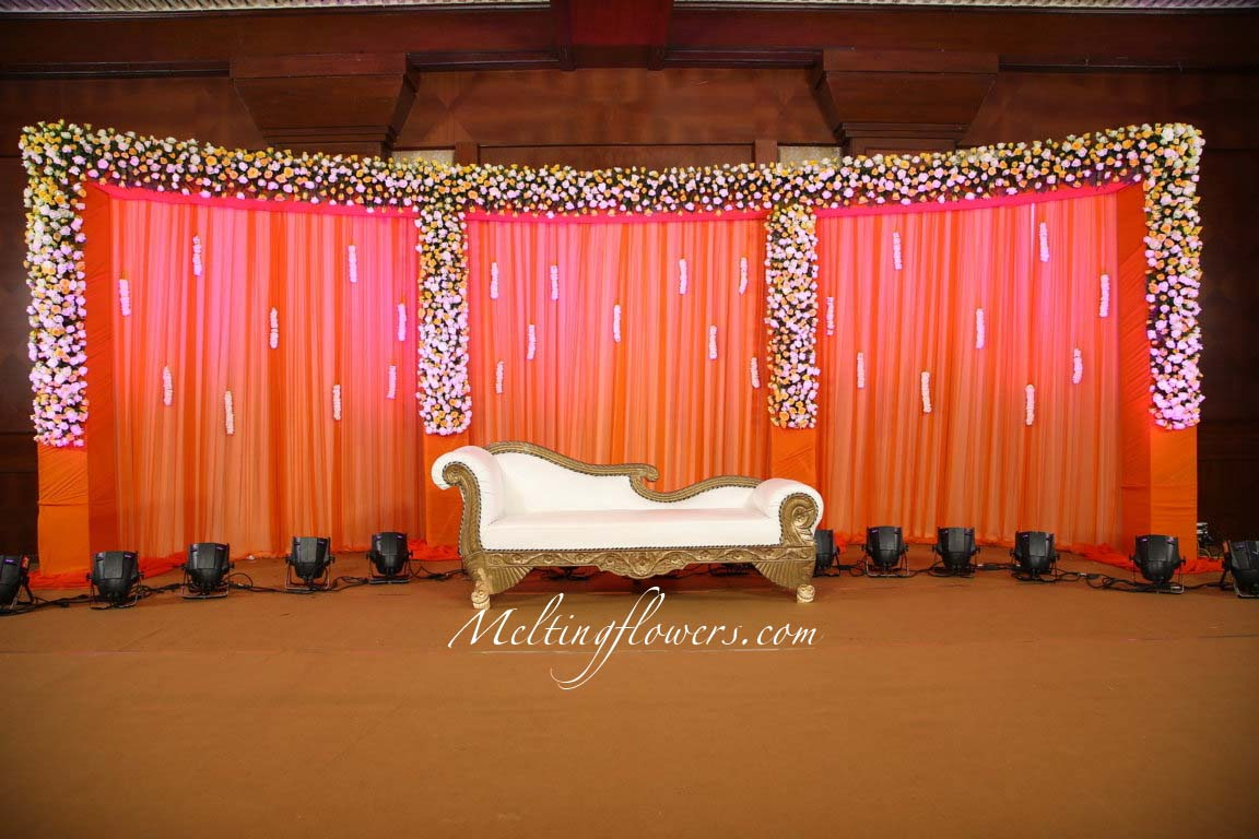 Wedding reception stage decorations pictures wedding for Background stage decoration