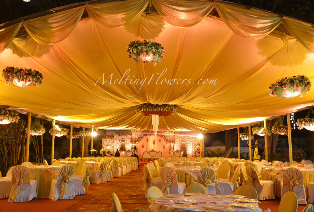Wedding decoration ideas with drapes wedding decorations flower royal theme wedding junglespirit Image collections