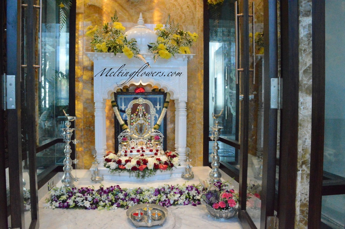 Decorate The Mandir Temple In Your Home With Gorgeous Flowers House Warming Decoration