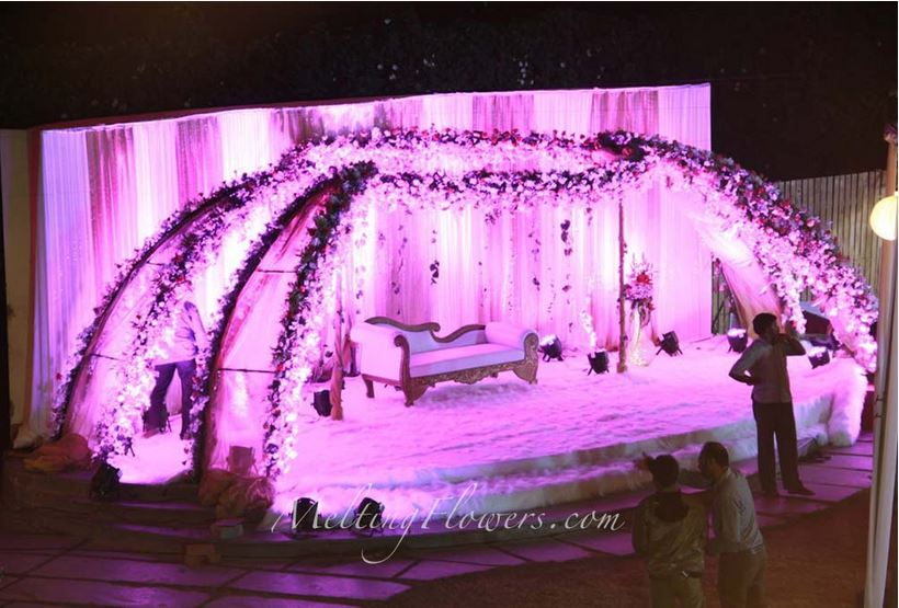 Purplish Wedding Backdrop Embellishment Styles