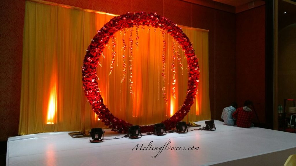 floral wreath photo booth decoration