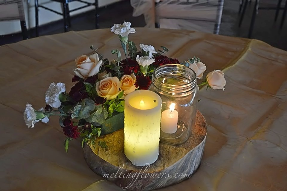 candle centerpiece for wedding decoration