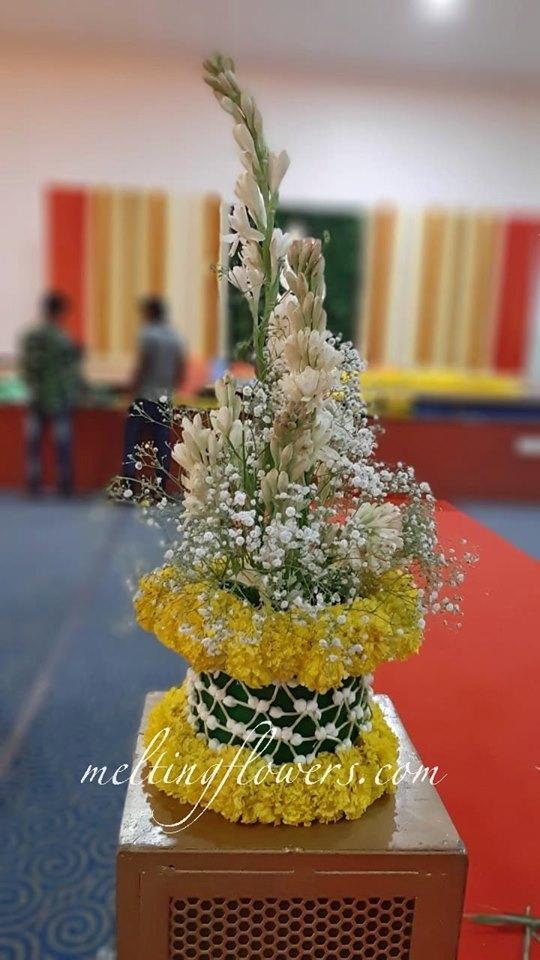 multicolored floral centerpiece