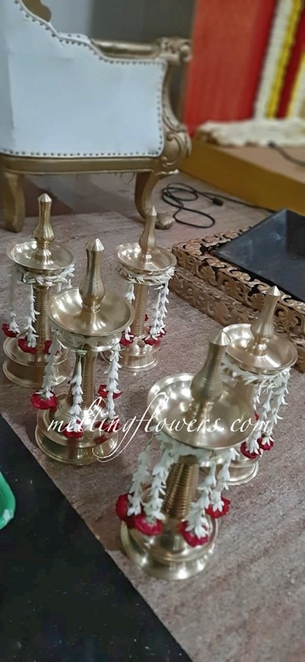 jasmine decorated candelabra
