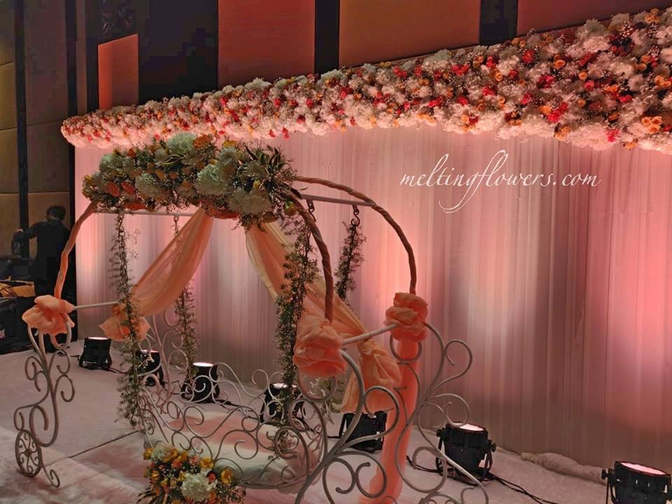 flower and drape stage decor