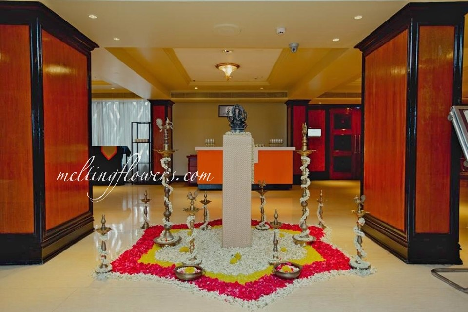 flower and candelabra entrance decor