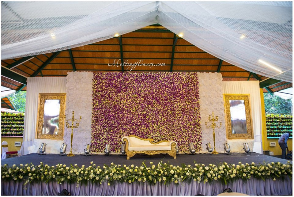 floral wall and stage decor