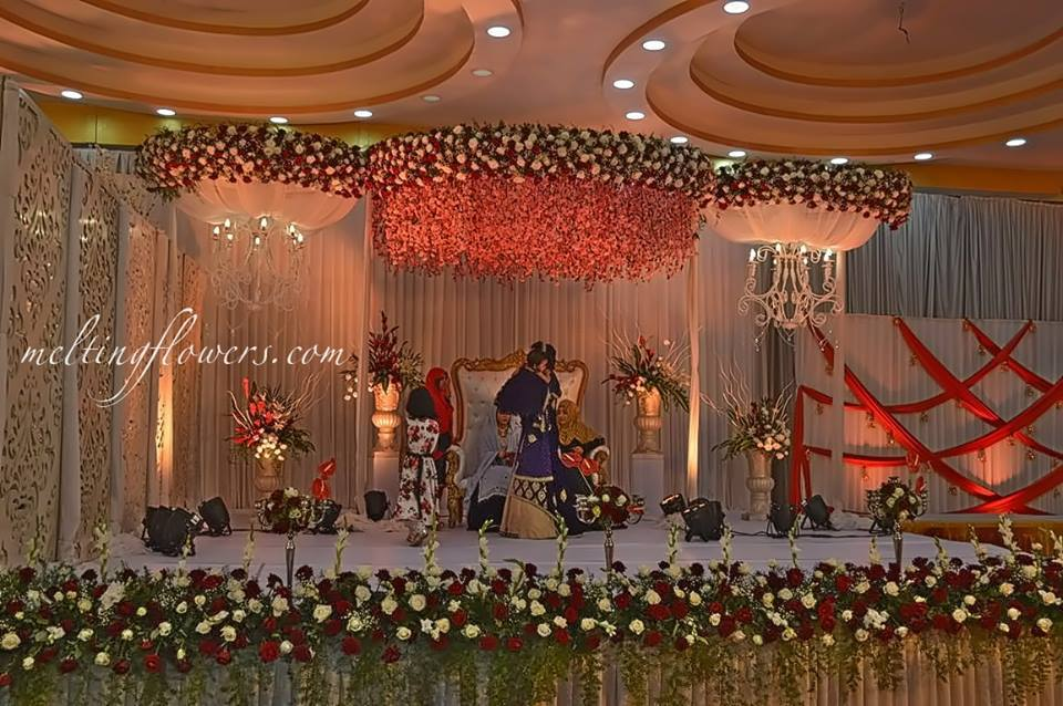 floral canopy stage decor