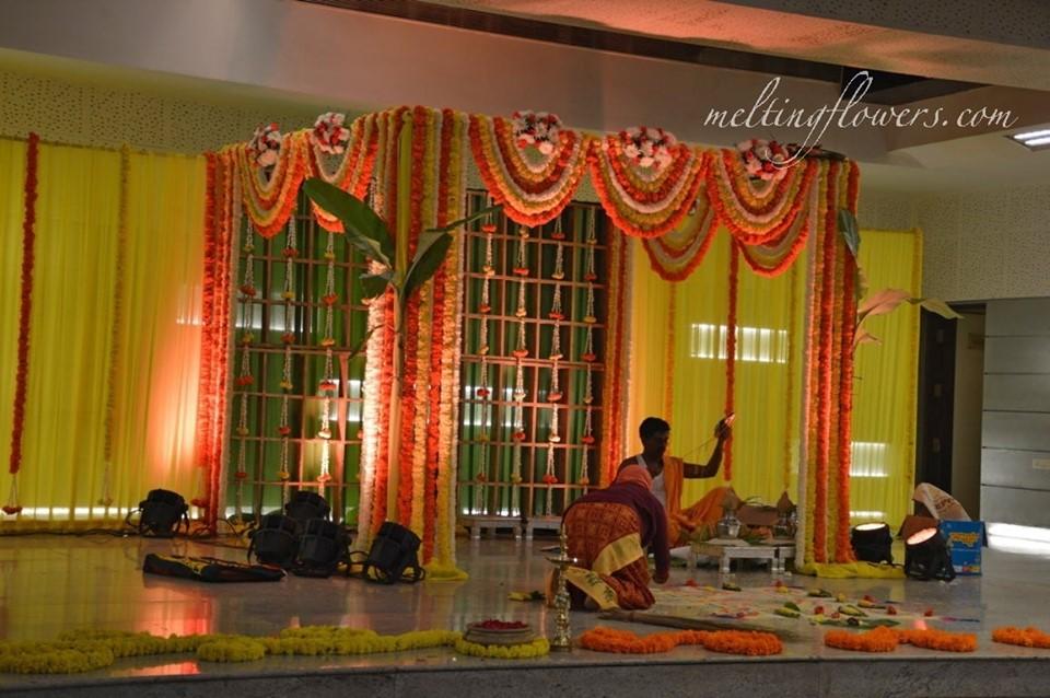 marigold garland mandap decor