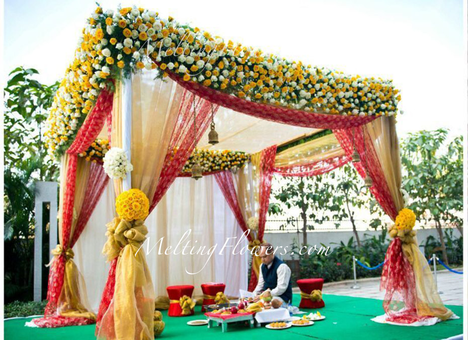Mandap decorations wedding mandap mandap flower Simple flower decoration ideas